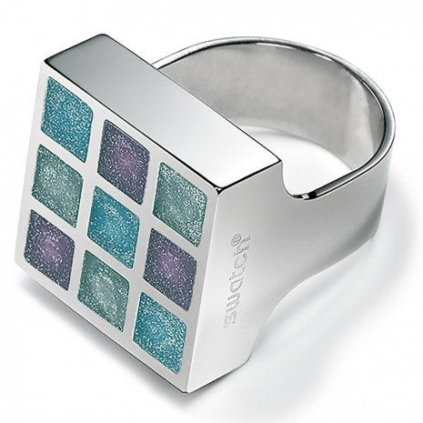 Swatch Bijoux Prismatic Blue Silicon Ring Ring