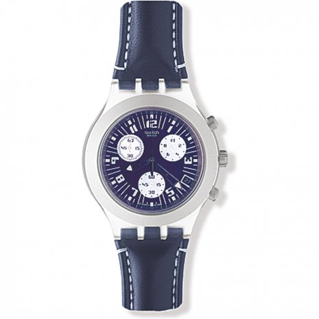 Swatch Thunderstorm Blue Leather Strap watch